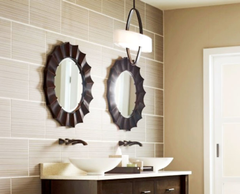 Round bathroom mirrors with wood trim